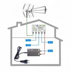 dvbt2 anténní systém pro 4 TV FUBA 949-101-4