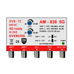 DVB-T2 zesilovač signálu Evercon AM-838 5G