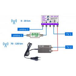 Asymetrický DVB-T2 anténní set 424-101-2 20/46 dB pro 2 TV