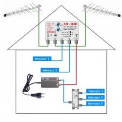dvbt2 anténní systém pro 5 TV 838-101-5